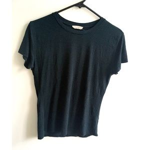 Green and black striped round neck t-shirt